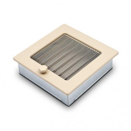 fém kandalló szellőzőrács, krém 17×17 zsalus