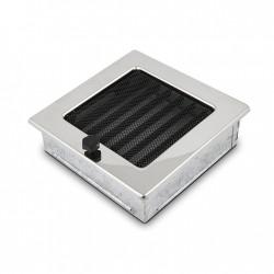 fém kandalló szellőzőrács, polírozott 17×17 zsalus